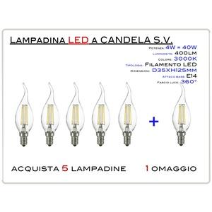 KIT 5 PEZZI - LAMPADINA LED CANDELA FILAMENTO KIT 5 PEZZI COLPO DI VENTO  ATTACCO E14 (PICCOLO) 4W = 40W LUCE CALDA 2700-3000K 470lm