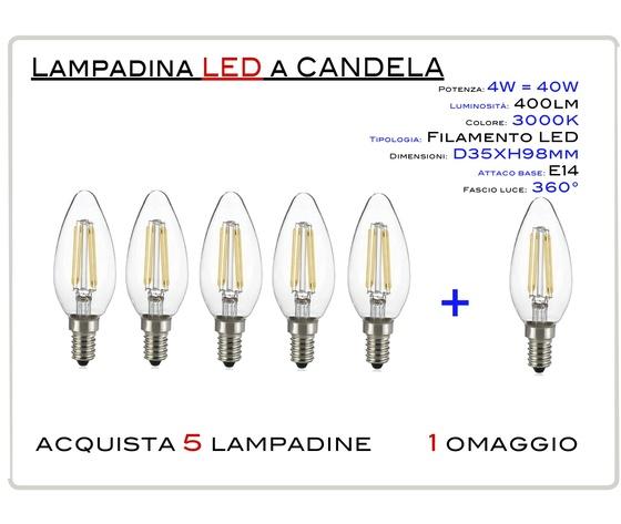 KIT 5 PEZZI LED CANDELA FILAMENTO  E14 4W - LAMPADINA LED CANDELA KIT 5 PEZZI  ATTACCO E14 (PICCOLO) 4W = 40W LUCE CALDA 2700-3000K 470lm