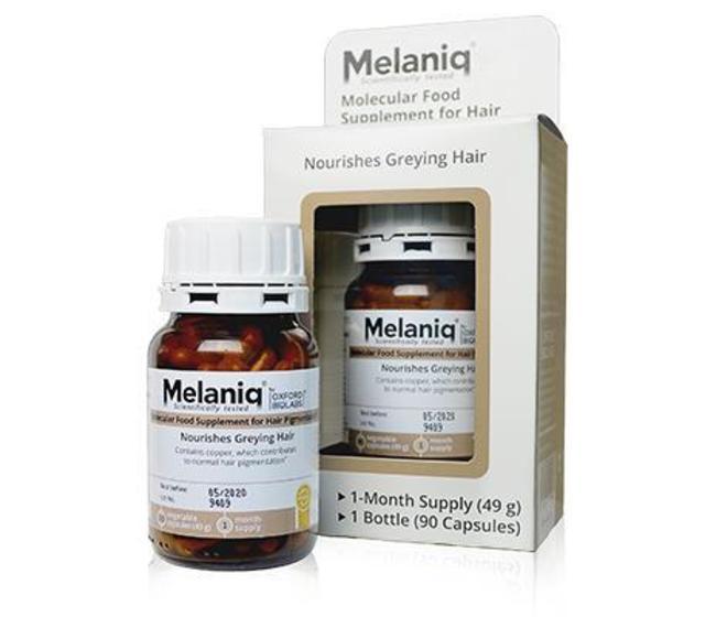 Melaniq® Supplement for Hair Pigmentation Oxford Biolabs  Specificamente formulato per supportare la capacità del corpo di produrre melanina