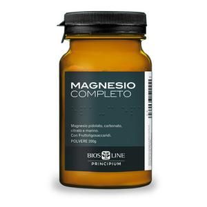 Magnesio Completo  pidolato, carbonato, citrato e marino con Fruttoligosaccaridi  Per sistema nervoso e muscolare aiuta a ridurre affaticamento e stanchezza