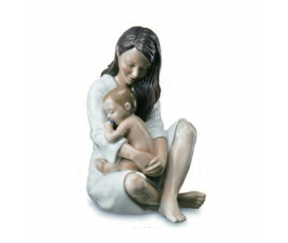 Royal Copenhagen Statuina Mamma con bimbo che dorme