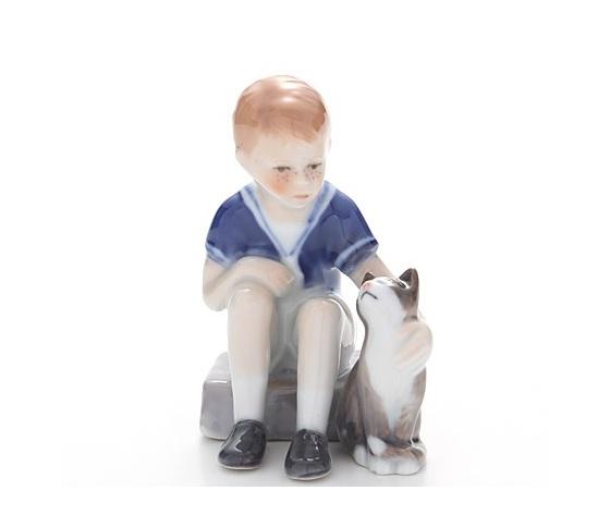 Royal Copenhagen Statuina Jens con Gatto Mini