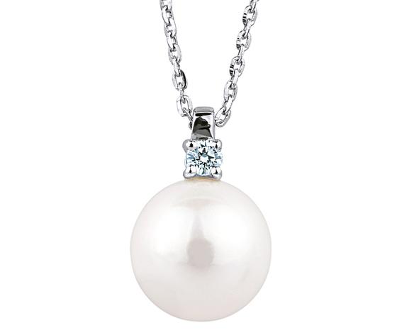 Bibigì Collana in oro bianco, Perla Akoya e Diamante - Varie Misure