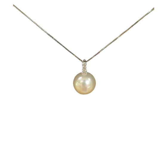 Bibigì Collana in oro bianco con Perla Akoya e Diamante - Varie misure