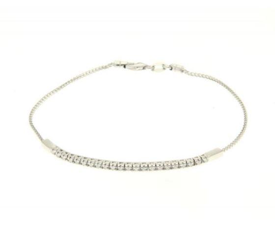 Crusado Bracciale Mezzo Tennis in oro bianco 18 kt con Diamanti