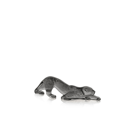 Lalique Zeila Panther Sculpture Small Grey Crystal
