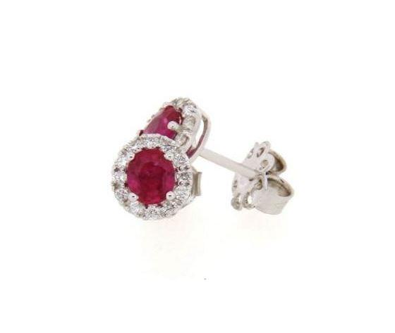 Clesi Gioielli Orecchini con rubini 0.84 ct e diamanti 0.23 ct
