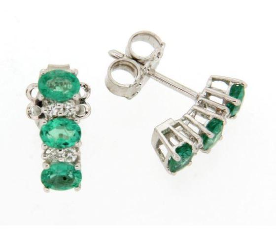 Clesi Gioielli Orecchini Trilogy con Smeraldi 0.94 ct e Diamanti 0.08 ct