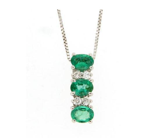 Clesi Gioielli Collana Trilogy con Smeraldi 0.94 ct e Diamanti 0.08 ct