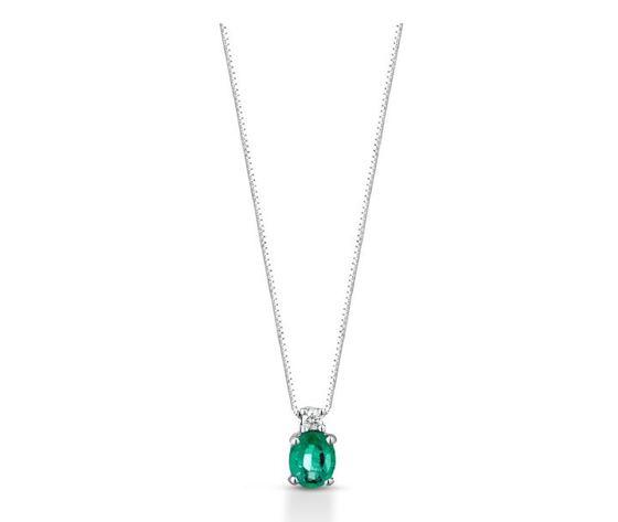 Clesi Gioielli Collana con Smeraldo 0.33 ct e Diamanti 0.02 ct
