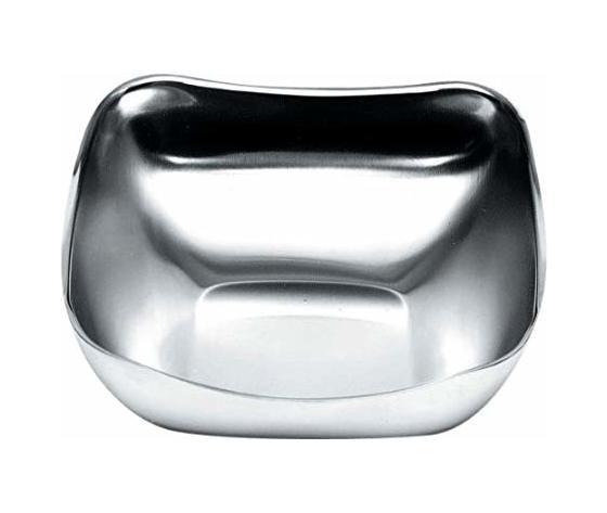 Alessi Cestino quadrato in acciaio satinato con bordo lucido