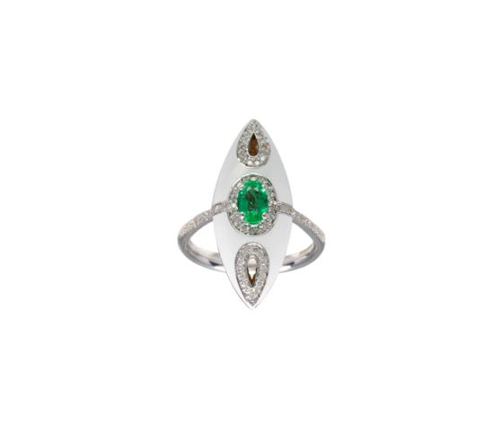 Visconti Anello in Oro Bianco e Smalto con Diamanti e Smeraldo