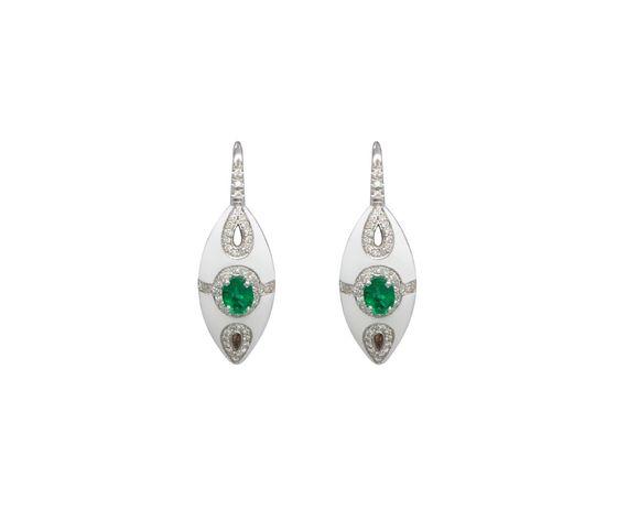 Visconti Orecchin in Oro Bianco e Smalto con Diamanti e Smeraldi