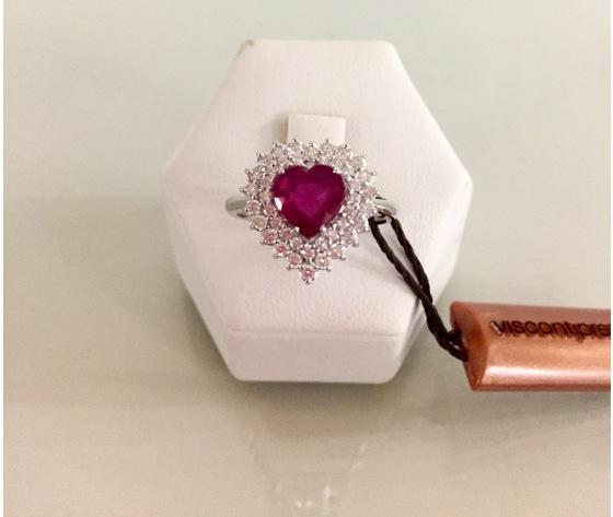 Visconti Anello in Oro Bianco con Rubino e Diamanti