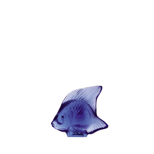 Lalique scultura di pesce Blu zaffiro
