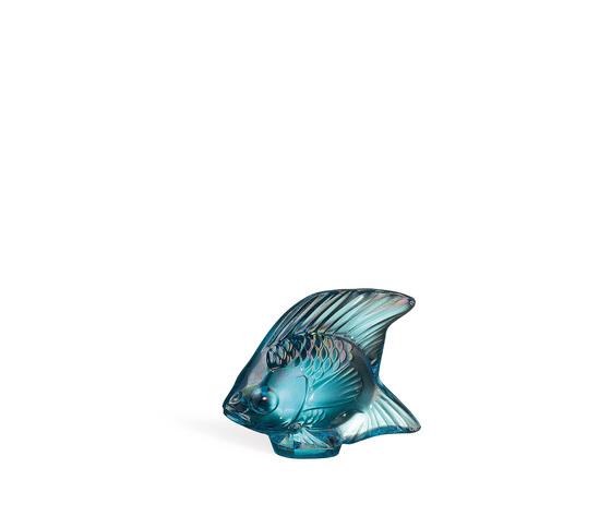 Lalique scultura di Pesce turchese lucido