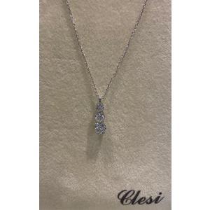 Clesi Gioielli collana trilogy con diamanti taglio brillanti 0,19 ct