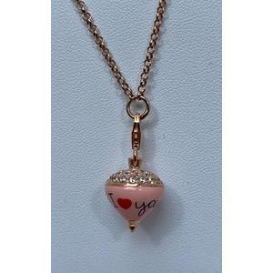 Azhar collana rosè principessa 1 filo con charm trottola cipria
