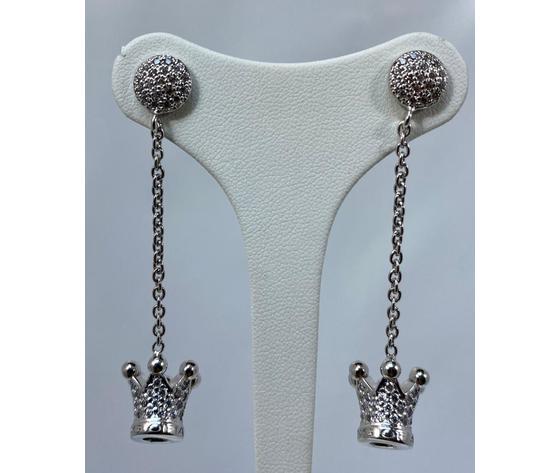 Azhar orecchini principessa chiusura pavè e catena argento