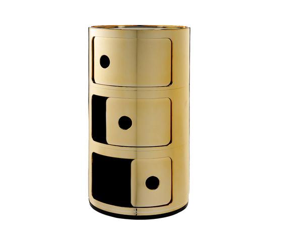 Kartell contenitore componibile 3 elementi metal oro