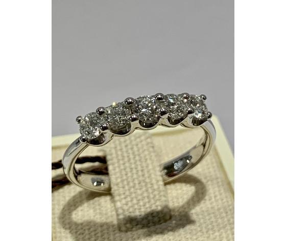 Bibigì anello veretta in oro bianco 18 kt con diamanti taglio brillante 0,70 ct