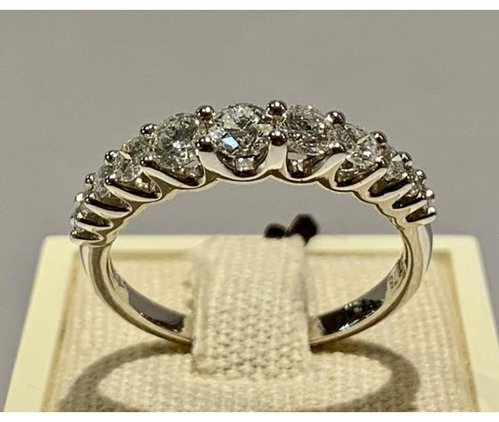 Bibigì anello veretta in oro bianco 18 kt con diamanti taglio brillante 0,78 ct