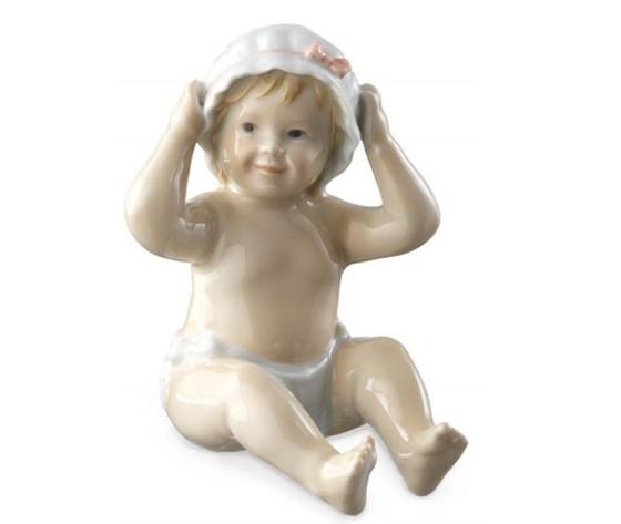 Royal Copenhagen statuina Neonata con Cuffietta