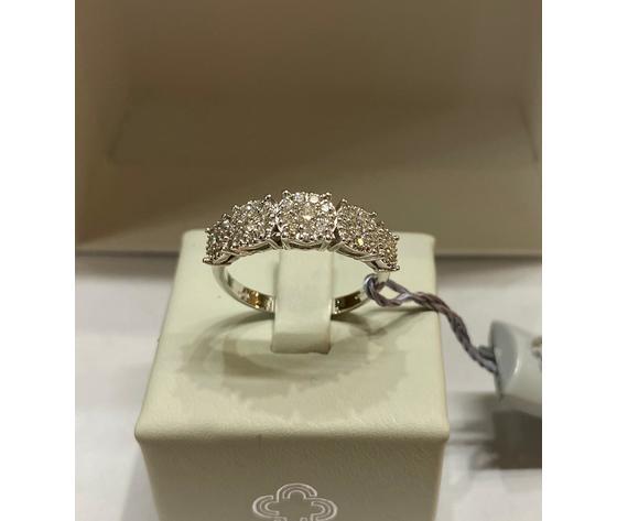Crusado anello veretta con diamanti pavè 0,63 ct