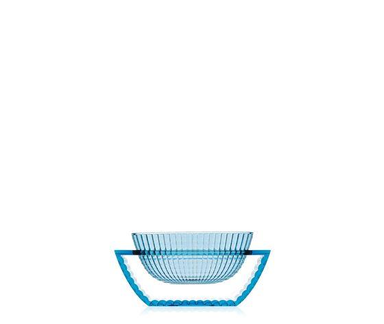 kartell centrotavola u shine azzurro blu trasparente