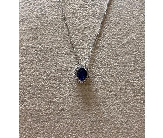 Clesi gioielli collana con zaffiro e diamanti taglio brillanti 0,09 ct