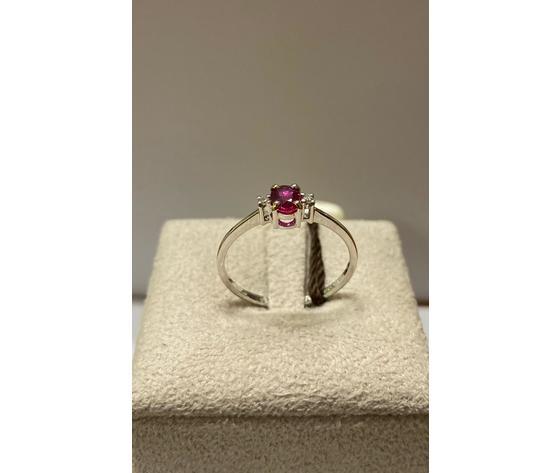Clesi Gioielli Linea Riflessi Anello con rubino e diamanti taglio brillanti 0,03 ct