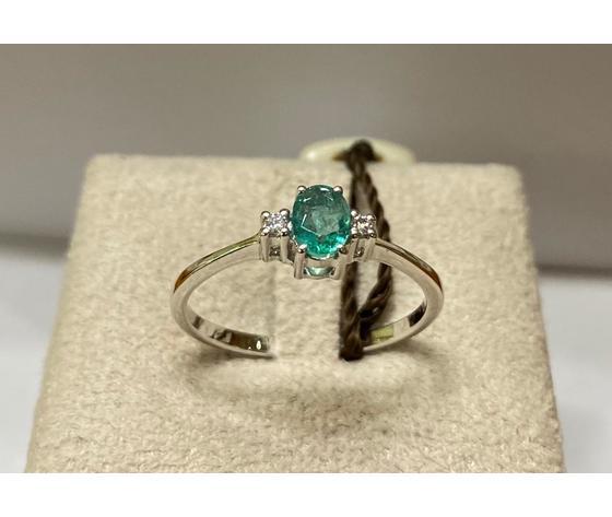 Clesi Gioielli Linea Riflessi Anello con smeraldo e Diamanti taglio brillanti 0.03 ct