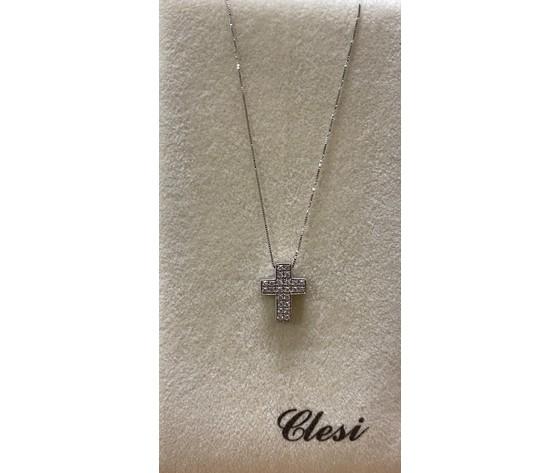 Clesi Ciondolo croce in oro bianco 18 kt e diamanti ct. 0,26