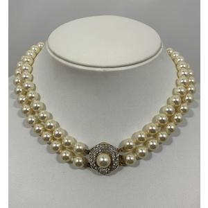 Swarovski Collana perle con due fili e susta con swarovski anni '80