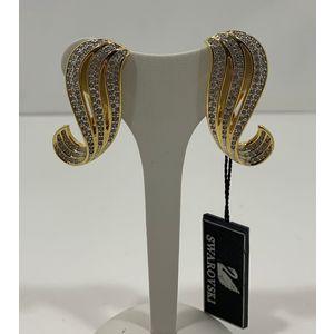 Swarovski orecchini a clip design Virgola anni '80 con Swarovski