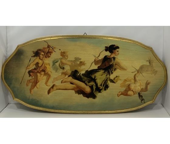 Selli: Stampa di scena mitologica su legno con bordo dorato
