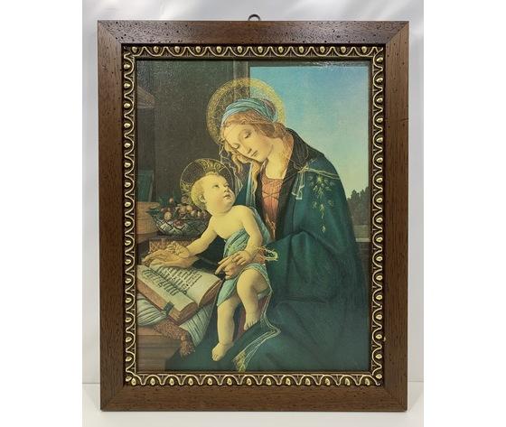 """Quadro / Capezzale: riproduzione """"Madonna con Bambino"""" di Botticelli"""