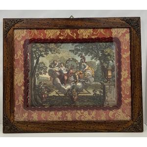 Cornice in legno antichizzato con Stampa di scena mitologica
