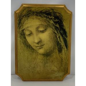 SELLI Firenze: Sacro, volto Madonna su legno.