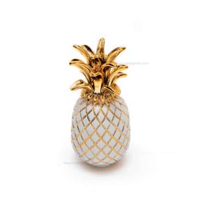 Sequenze scultura ananas bianco e oro H.25 cm