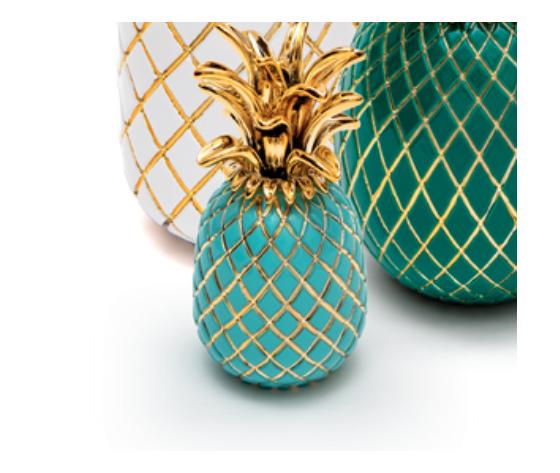 Sequenze scultura ananas turchese e oro H.15 cm