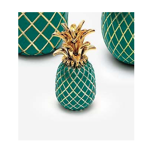 Sequenze scultura ananas smeraldo e oro H.15 cm