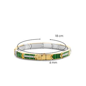 TI SENTO Milano Bracciale in argento 925 con pietre di malachite verde e zirconi