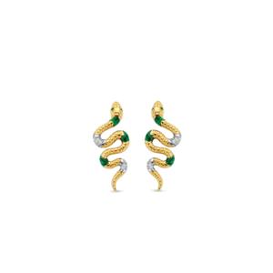 TI SENTO Milano Orecchini in argento 925 con placcatura in oro e pietre verdi