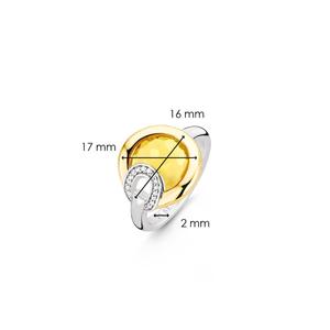 TI SENTO Milano Anello in argento 925 e pietra gialla cristallo