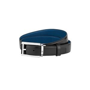 Montblanc cintura reversibile in pelle nera/blu 30 mm