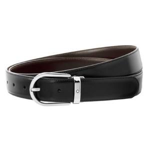 Montblanc cintura reversibile in pelle nera/marrone 30 mm con fibbia a ferro di cavallo