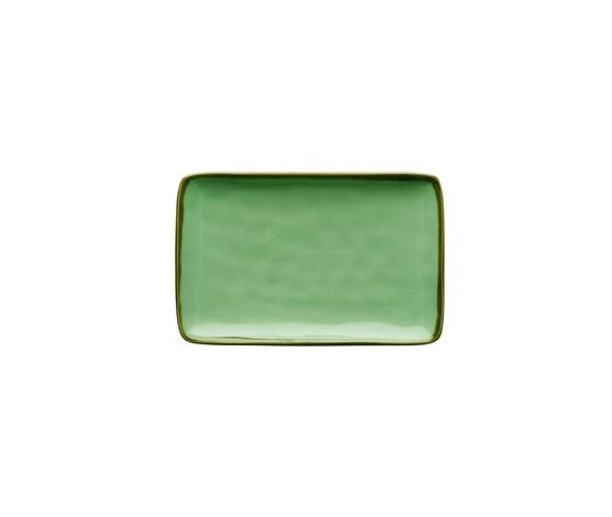 Vassoio rettangolare Concerto verde acqua 20x13  cm
