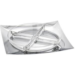 Antipastiera con cristallo Linea Q 28 x 28 acciaio inox