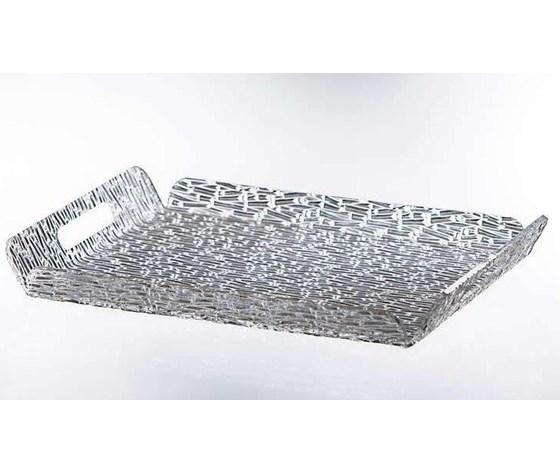 """Vassoio rett. c.man. plexiglas con fresatura """"ghiaccio"""" 30x40"""